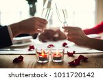 young couple having romantic... | Shutterstock . vector #1011720142