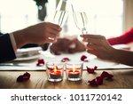 young couple having romantic... | Shutterstock . vector #1011720142
