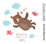 bear and birds valentines card | Shutterstock .eps vector #1011720712