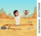 girl archaeologist waist deep... | Shutterstock .eps vector #1011734608