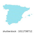 abstract blue map of spain  ... | Shutterstock .eps vector #1011738712