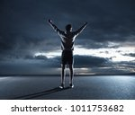 young athlete triumphing at dusk | Shutterstock . vector #1011753682