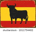 vintage metal sign   spain bull ... | Shutterstock .eps vector #1011754402