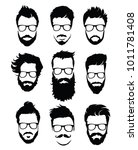 set of hairstyles for men in... | Shutterstock .eps vector #1011781408