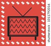 tv icon flat. simple black...