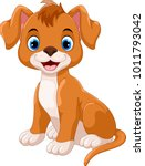 Cute Little Dog Cartoon Sittin...