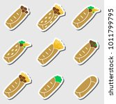 set of color tortilla food...   Shutterstock .eps vector #1011799795