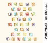 alphabet with numbers  childish ... | Shutterstock .eps vector #1011800668