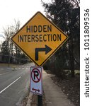 hidden intersection sign with... | Shutterstock . vector #1011809536