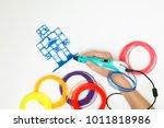 mock up. 3d handle  pen .... | Shutterstock . vector #1011818986
