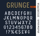 grunge textured font. rough... | Shutterstock .eps vector #1011819916