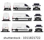 realistic cargo vans. front... | Shutterstock .eps vector #1011821722