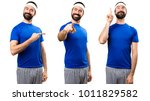 set of funny sportsman pointing ... | Shutterstock . vector #1011829582