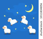 counting the cute sheep in the... | Shutterstock .eps vector #1011834856