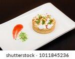 lemon tart with cream decorated ...   Shutterstock . vector #1011845236