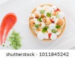 lemon tart with cream decorated ...   Shutterstock . vector #1011845242