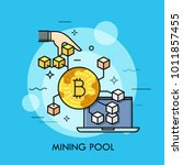 laptop and golden bitcoin coin...   Shutterstock .eps vector #1011857455