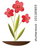 three red flowers growing out...   Shutterstock .eps vector #101185855