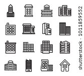 headquarters icons. set of 16... | Shutterstock .eps vector #1011859552