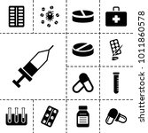 medication icons. set of 13... | Shutterstock .eps vector #1011860578