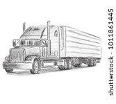 classic american truck hand... | Shutterstock .eps vector #1011861445
