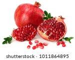 pomegranate isolated on white... | Shutterstock . vector #1011864895