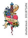 dagger piercing heart with... | Shutterstock .eps vector #1011871696