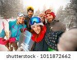 group of happy friends having... | Shutterstock . vector #1011872662