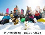friends on mountain enjoying on ... | Shutterstock . vector #1011872695