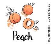 Peaches Fruit Handdrawn Design...