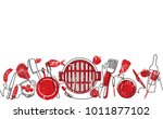 grill background. pattern with... | Shutterstock .eps vector #1011877102