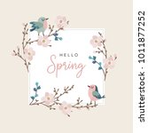 hello spring greeting card ... | Shutterstock .eps vector #1011877252