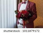 groom in stylish red suit... | Shutterstock . vector #1011879172
