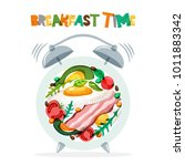 breakfast menu vector design.... | Shutterstock .eps vector #1011883342