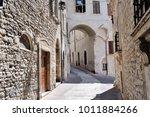 medieval street in the italian...   Shutterstock . vector #1011884266