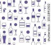 alcohol beverages pattern with... | Shutterstock .eps vector #1011891502