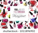 nail polish flyer backdrop...   Shutterstock .eps vector #1011896902