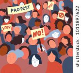 women protesters with stop and... | Shutterstock .eps vector #1011897622
