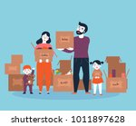 family moving into a new house... | Shutterstock .eps vector #1011897628