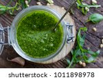 homemade arugula pesto in a... | Shutterstock . vector #1011898978