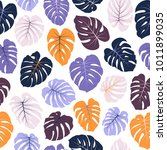 vector tropical pattern with... | Shutterstock .eps vector #1011899035