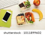healthy snack at office... | Shutterstock . vector #1011899602