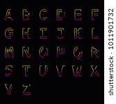modern linear uppercase latin... | Shutterstock . vector #1011901732