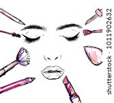 female face and makeup tools. | Shutterstock .eps vector #1011902632