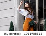 outdoor fashion portrait of... | Shutterstock . vector #1011908818