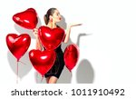 valentine beauty girl with red... | Shutterstock . vector #1011910492