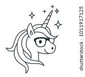 Cute Unicorn Wearing Eyeglasse...