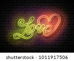 vintage glow signboard with... | Shutterstock .eps vector #1011917506