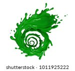 green liquid spinning twisted...   Shutterstock . vector #1011925222