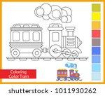 coloring train. children's arts ...   Shutterstock .eps vector #1011930262